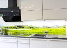 Küchenrückwand aus Alu-Verbund gebürstet inkl. Motivdruck ...