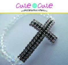 Pulsera de cruz con cristales blancos #CuteSoCute