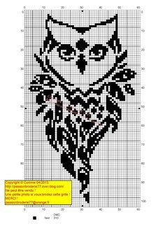owl/chouette/hibou Cross Stitch Owl, Cross Stitch Animals, Cross Stitch Charts, Cross Stitch Designs, Cross Stitching, Cross Stitch Embroidery, Embroidery Patterns, Cross Stitch Patterns, Filet Crochet