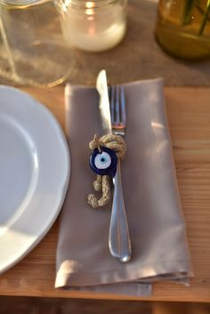 Mykonos Destination wedding - Boho flower decoration-Evil eye theme- napkin folding Turkish Wedding, Greek Wedding, Cute Wedding Ideas, Wedding Trends, Lucky Charm Bracelet, Dinner Party Decorations, Fiestas Party, Wedding Gifts For Guests, Guest Gifts