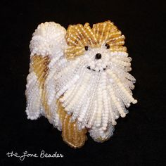 Beaded Pomeranian - Dog Art Pin/Pendant  by The Lone Beader (ETSY)