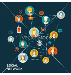 Global professional social network concept vector by macrovector on VectorStock®