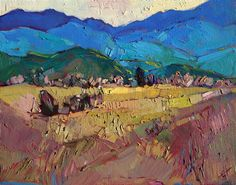 Montana landscape small oil painting on board, by Erin Hanson