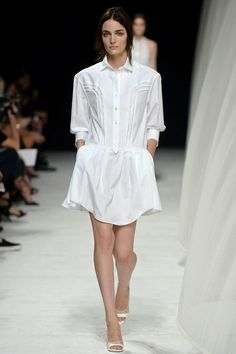 Nina Ricci gives the classic white shirt dress a spin for SS14.