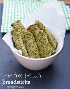 A healthy recipe for broccoli breadsticks (grain-free, gluten-free, dairy-free, paleo friendly). No flour breadsticks. A fun way to eat broccoli! Grain Free, Dairy Free, Gluten Free, Nut Free, Vegetarian Recipes, Cooking Recipes, Healthy Recipes, Free Recipes, Sin Gluten