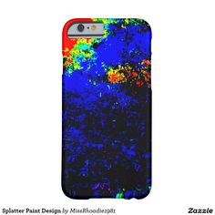Splatter Paint Design Barely There iPhone 6 Case  Kids are not the only ones who love splattering paint. Adults do too! Celebrate the kid in you with this fun splatter paint design. Using a brilliant contrast of dark and light colors such as blue, yellow, red, and green this design is fun, stunning, dazzling, and brilliant. This iphone6 cover is made from form-fitting featherlight material this iphone6 case covers your phone without compromising your access to your screen, buttons…