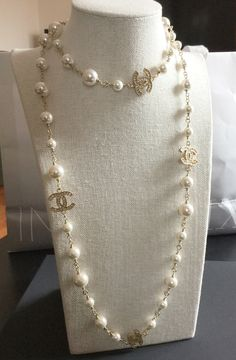 """CHANEL Gold Crystal 5 CC PEARL Strand Necklace Double Sided 39"""" Chain Authentic"""