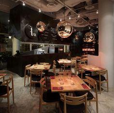 Vintage Restaurant Interior Design (5)- Aren't reflecting globes almost always a great idea? Popup Republic