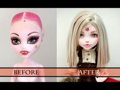 WORK IN PROGRESS RED RIDING HOOD (CHAPERON ROUGE) - MONSTER HIGH FACEUP HOW TO REPAINT A DOLL - YouTube