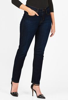 I <3 this Stretch straight leg jeans from eShakti