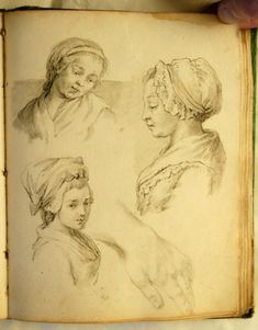 Anonymous French sketchbook of 38 leaves of the mid-eighteenth century wearing outfits and hairdresses typical of everyday life under Louis XV made of Laid paper, pencil, red chalk and ink. For sale at Anticstore.