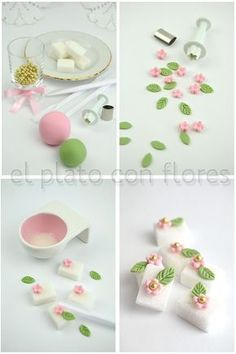 Decorate your own sugar cubes - translate Garnishes Decorate your own sugar cubes - translate Cake Topper Tutorial, Fondant Tutorial, Cake Toppers, Fondant Flowers, Sugar Flowers, Panda Cakes, Sugar Cubes, Gum Paste Flowers, Tea Sandwiches