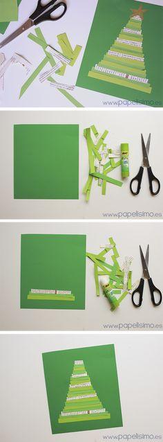 Tarjeta de Navidad fácil para niños | http://papelisimo.es/tarjeta-de-navidad-facil-para-ninos/