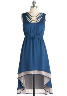 Teal Away with Me Dress - Mid-length, Blue, Tan / Cream, Beads, High-Low Hem, Sleeveless, Party, 70s, Boho