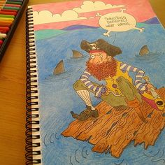 "Instagram media by robymgr - ""Pirate life.."" #illustration#illustrazione#arte#art#sketch#drawing#draw#disegno#Pirate#pirates#ocean#shark#squali#pirati#life#pastelli#pastels#pencils#matite#colours#colori"