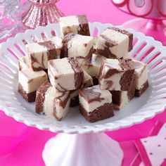 Brandy Alexander Fudge: At Christmastime, we love to indulge in this marbled fudge inspired by the popular brandy drink. My sister-in-law won first place with this recipe at the county fair. | Taste of Home {Holiday Baking}