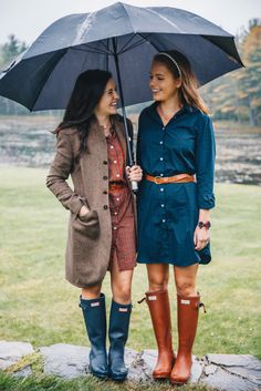 Fall Winter Outfits, Autumn Winter Fashion, Spring Outfits, Rainy Day Outfit For Work, Outfit Of The Day, Preppy Outfits, Cute Outfits, Preppy Fashion, Hunter Boots Outfit