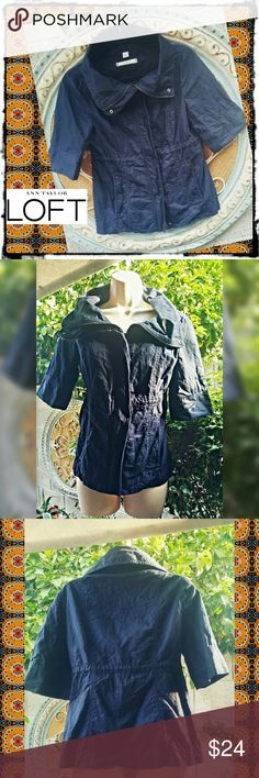 Ann Taylor Loft Utility Jacket Chambray blue Loft utility jacket size XS. Has very small hint of silver threading throughout. Elbow length sleeves, slightly gathered at waist, 2 front pockets. This can be both zippered and/or buttoned in front. 95% cotton, 5% metallic. Machine washable. New without tags.   #utilityjacket #anntaylor #loft #theloft #anntaylorloft #utilitycoat #loftjacket LOFT Tops