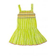 Budding Bees Girls Green Gathered Dress #summerdresses #dressesforgirls #babyfrocks