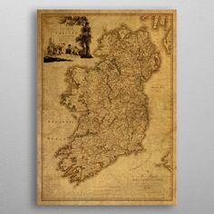 "Beautiful ""Vintage Map Ireland metal poster created by Design Turnpike. Our Displate metal prints will make your walls awesome. Best Of Ireland, Irish Art, Old Maps, U2, Historical Maps, Print Artist, Cool Artwork, Vintage World Maps, Poster Prints"
