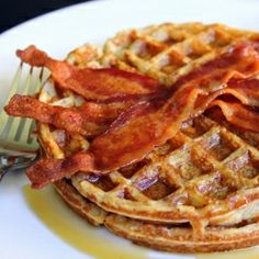 Best-Ever Pecan Waffles with Bacon. Pecans, waffles, and bacon? Thought brunch couldn't possibly get any better? Well, it just did.