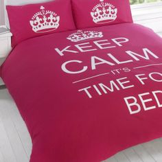 SUPERB COTTON USA QUEEN (230 X 220CM - UK KING SIZE) BED PINK TEENAGER KEEP CALM ITS TIME FOR BED COTTON REVERSIBLE DUVET SET COMFORTER COVER PCJ SUPPLIES,http://www.amazon.com/dp/B00H3BU4RS/ref=cm_sw_r_pi_dp_n.-vtb0N6CQBRPDE