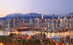 Download wallpapers Vancouver, 4k, Canada, cityscape, skyscrapers, evening
