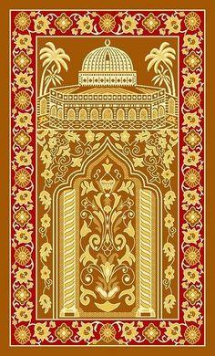Golden Muslim Prayer Rugs Padded Prayer Rug Islamic Prayer Rug Turkish Prayer Rug for Middle East Man