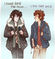 Nico (from the Percy Jackson book series) and Dipper (Gravity Falls) Rick Riordan, Gravity Falls Crossover, Fandom Crossover, Gravity Falls Book, Gravity Falls Funny, Billdip, Solangelo, Percabeth Fanfiction, Gavity Falls