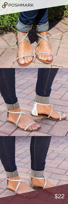 Rhinestone Sandals You'll sparkle and shine throughout the day and into the night with this trendy gladiator sandal.  These sandals are as eye-catching as they are fun to wear!   Details:  * Brand new in box. * Back Zipper Closure * All Man Materials VictoriaAdames Shoes Sandals