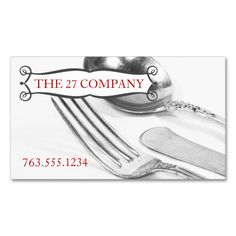 Elegant fork knife spoon silverware chef catering Double-Sided standard business cards (Pack of 100). Make your own business card with this great design. All you need is to add your info to this template. Click the image to try it out!