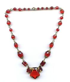 Vtg 1920s Art Deco Red Czech Glass Bead & Stones Vauxhall Brass Collar Necklace #Jewelry #Deal #Fashion