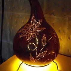 "Lampe en courge ""fleur indi"""