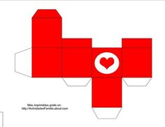 Caja imprimible con corazón: Caja roja