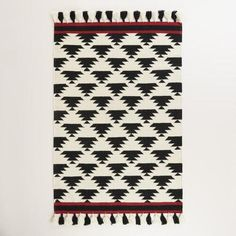 One of my favorite discoveries at WorldMarket.com: 4'x6' Black and White Kaia Flatweave Wool Area Rug