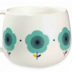 Mr & Mrs Clynk Blue Flowers Mug: A gorgeous mug by French design duo, Mr & Mrs Clynk. Retro Scandi inspired blue flowers pattern, perfect shape to cup your hands around. Ceramic Tableware, Kitchenware, Ceramic Mugs, Mr Mrs, Flower Patterns, Print Patterns, Porcelain Mugs, Motif Floral, Decoration Design