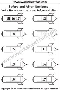 Before and After Numbers – 1-20 – One Worksheet