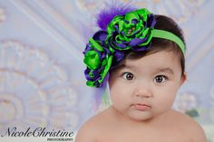 Purple and Green Satin Flower Headband Photo by LaBandeauxBowtique, $12.00