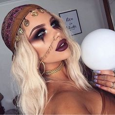 Pinterest: @MagicAndCats ☾ Fortune teller gypsy Halloween costume makeup