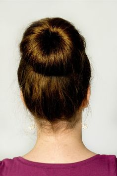 How To: Easy Sock Bun Tutorial via Hopeful Honey.  I've used the bun donut but this strategy doesn't require any bobby pins!