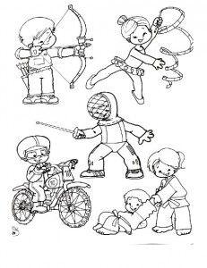 Deportes. Fichas para imprimir y colorear Drawing For Kids, Art For Kids, Coloring For Kids, Coloring Pages, Sports Clips, Sports Logo, Happy Kids, Physical Education, Preschool Crafts