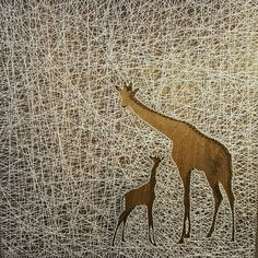 Items similar to Giraffe Mama and Baby String Art on Etsy Bubble Art, Rhinestone Art, Moose Art, Art Projects, Painting, Animal Print Rug, Art, Artsy, Diy Art