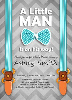 Baby shower invitation for a boy mustache bow tie themed little man baby shower invite baby shower invitation baby boy on his way bow suspenders tie cute stripes blue brown digital printable diy filmwisefo