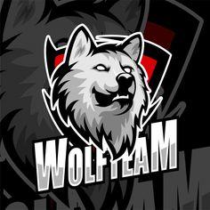ESports Gaming Logo badge wolf team Premium Vector