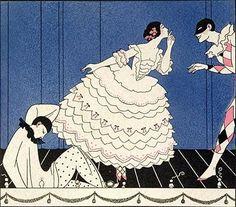 Pierrot, Colombina e Arlequim, 1919 [ilustração para o Balé Carnaval) George Barbier (França, 1882-1932) Litogravura policromada