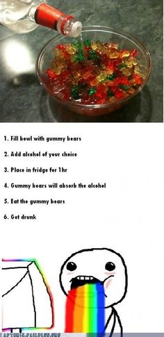Vodka gummy bears- I have heard to soak for 3 days- won't know till I try it.