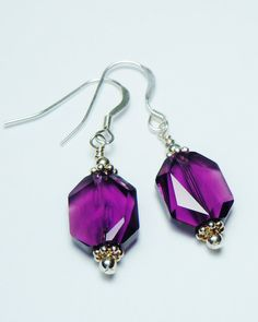 Swarovski Amethyst Crystal Earrings  by BestBuyDesigns - February Birthstone