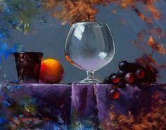 Grapes & Glass Alla Prima by David Cheifetz Oil ~ 8 x 10