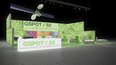 061 GPS Gspot / S2 | Eindrucksvoller Messestand eines Anbieters von Global Positioning Systemen.   Der imposante Reihenstand nutzt beidseitig bedruckte Leuchtwände und Se...