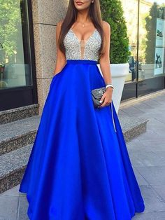 Sexy A-line V-neck Satin Floor-length Beading Backless Prom Dresses